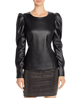 AQUA - Puff-Sleeve Faux Leather Top - 100% Exclusive