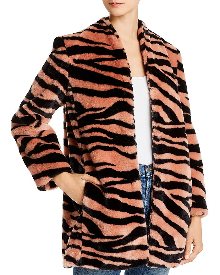 Michelle Mason - Tiger-Print Faux Fur Car Coat