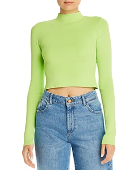Bec & Bridge - Astrid Neon Cropped Mock-Neck Top