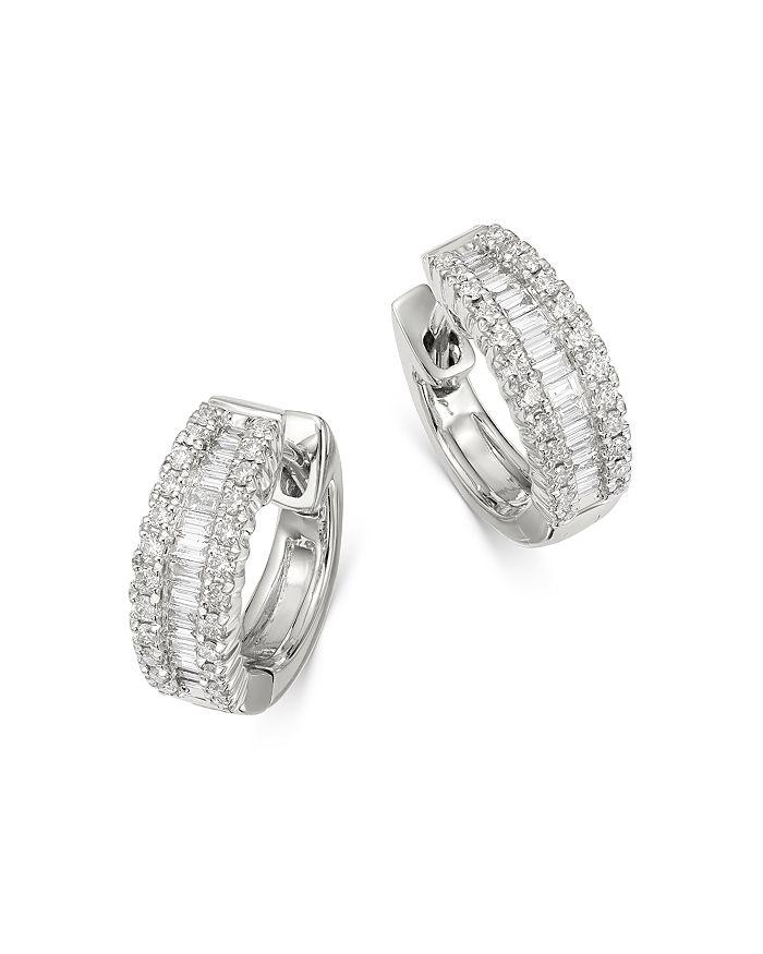 Round Baguette Diamond Huggie Hoop Earrings In 14k White Gold 0 50 Ct T W 100 Exclusive