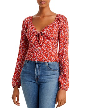 Lost and Wander - Stefanie Tie-Front Floral Top