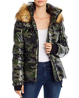 Aqua Faux Fur Trim Camo Puffer Jacket - 100% Exclusive