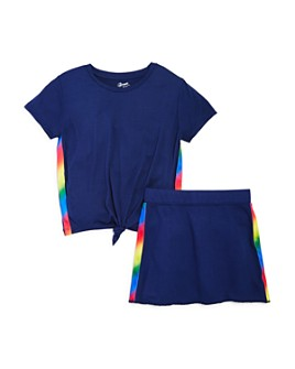 Flowers by Zoe - Girls' Neon-Stripe Top & Skirt - Big Kid