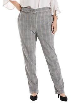 Estelle Plus - Glen Plaid Straight-Leg Pants