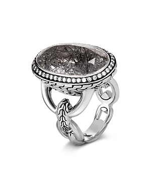 John Hardy Sterling Silver Classic Chain Black Tourmalated Quartz & Diamond Ring