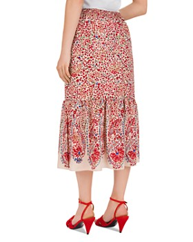 Gerard Darel - Terry Shirred Botanical-Print Midi Skirt