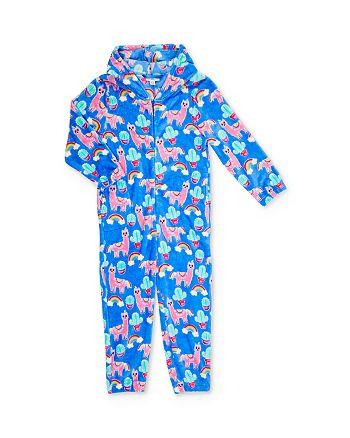 Candy Pink - Girls' Llama Print One-Piece Pajamas - Little Kid, Big Kid