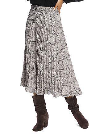1.STATE - Pleated Snakeskin-Print Midi Skirt