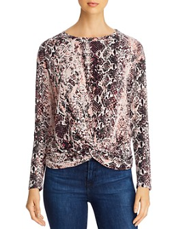 Single Thread - Snakeskin Print Knot-Hem Top