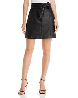 Parker - Emmett Tie-Waist Leather Mini Skirt