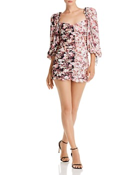 For Love & Lemons - Houston Ruched Floral-Print Mini Dress