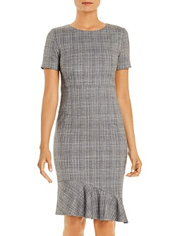 T Tahari - Glenplaid Flutter-Hem Dress