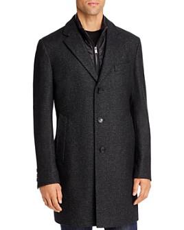BOSS - Nadim Textured Regular Fit Coat with Zip-Out Bib