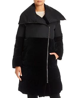 Armani - Mid-Length Velvet-Detail Puffer Coat