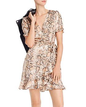 AQUA - Puff-Sleeve Snake Print Dress - 100% Exclusive
