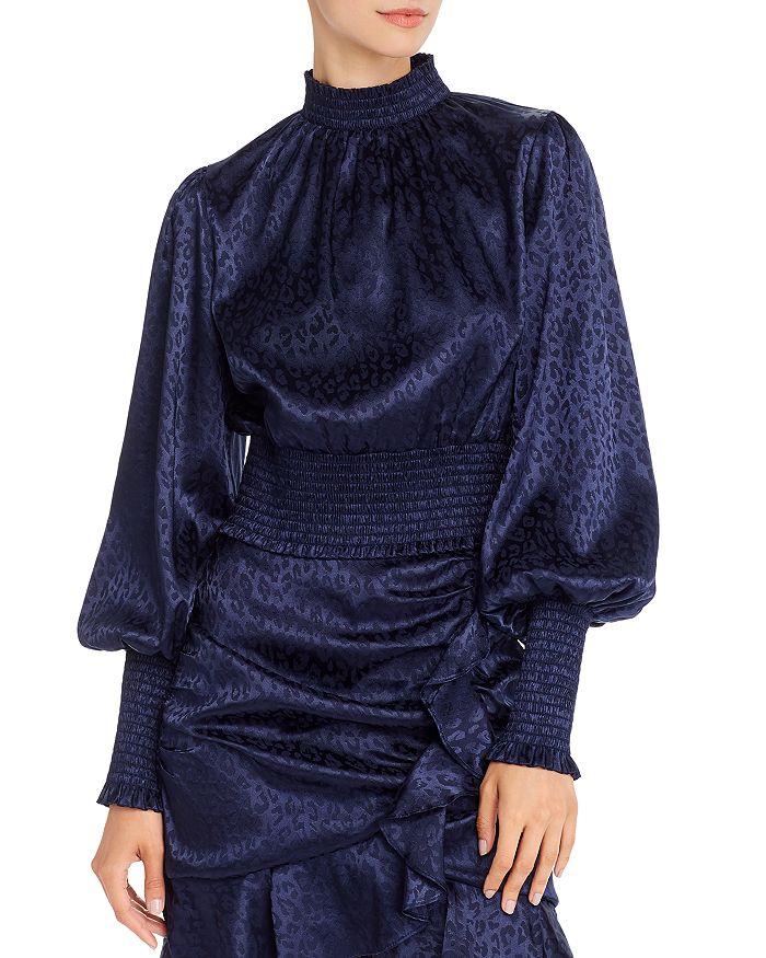 AQUA - Bishop-Sleeve Smocked Top - 100% Exclusive
