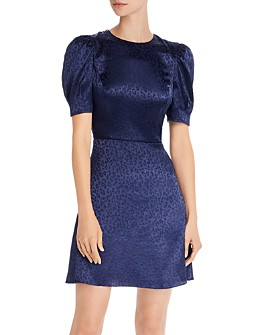 AQUA - Tonal Leopard-Pattern Fit-and-Flare Dress - 100% Exclusive