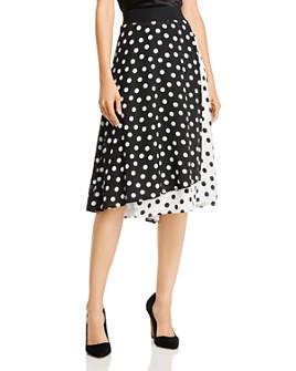 Alice and Olivia - Nanette Faux-Wrap Polka Dot Midi Skirt