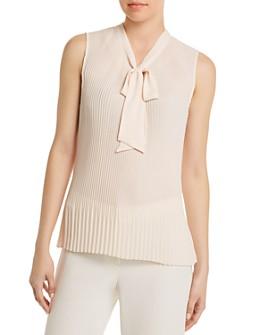 Donna Karan - Tie-Neck Pleated Blouse