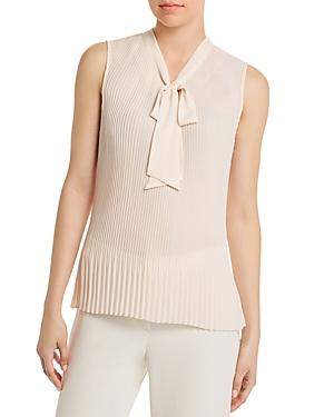 Donna Karan New York Tie-Neck Pleated Blouse