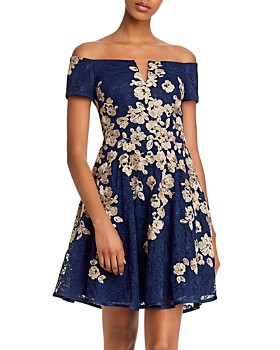 AQUA - Off-the-Shoulder Lace-Embroidered Dress - 100% Exclusive