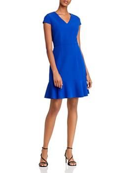 Betsey Johnson - Flounced Hem V-Neck Dress