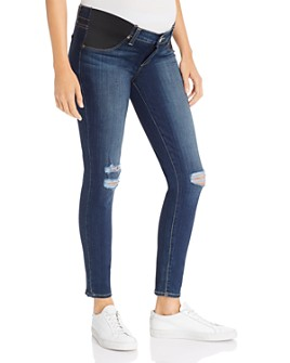 PAIGE - Verdugo Ankle Skinny Maternity Jeans in Nia Destructed
