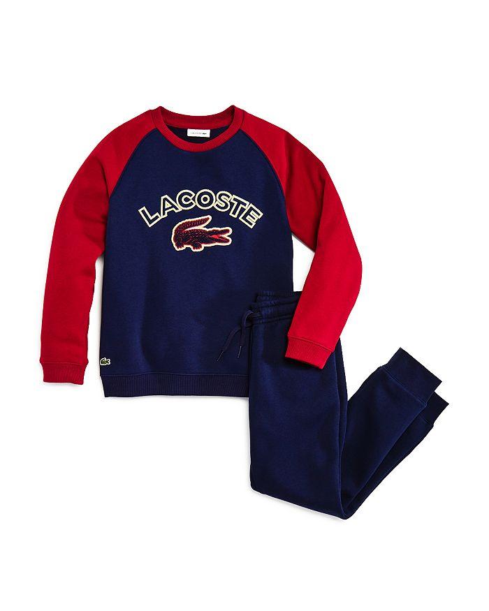 Lacoste - Boys' Raglan Croc Sweatshirt & Fleece Sweatpants - Little Kid, Big Kid