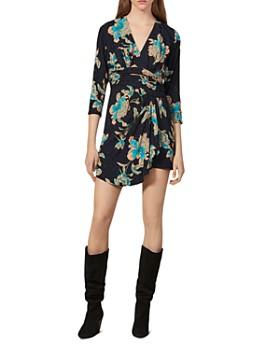 Sandro - Bruni Floral Faux-Wrap Mini Dress