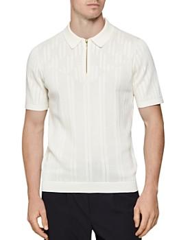 REISS - Textured Regular Fit Zip Polo Shirt
