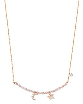 Meira T - 14K Rose & White Gold Bar Necklace with Diamonds & Pink Moonstone, 18""