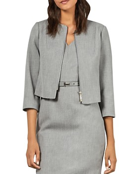 Ted Baker - Micah Cropped Textured Zip-Front Blazer