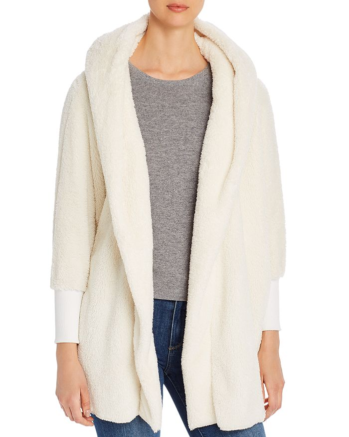 Alison Andrews - Faux-Fur Hooded Open Cardigan