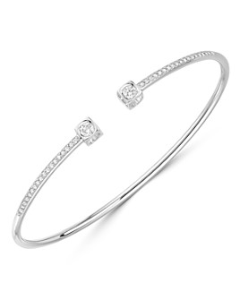 Dinh Van - 18K White Gold Le Cube Diamant Medium Bangle Bracelet with Diamonds