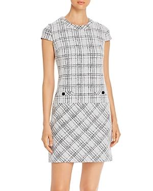 Vintage Dresses Australia- 20s, 30s, 40s, 50s, 60s, 70s Karl Lagerfeld Paris Plaid Cap-Sleeve Knit Dress AUD 230.68 AT vintagedancer.com