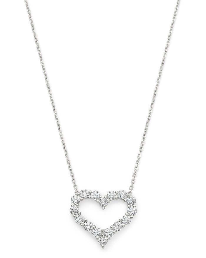 Bloomingdale's - Diamond Heart Pendant Necklace in 14K White Gold, 1.50 ct. t.w. - 100% Exclusive