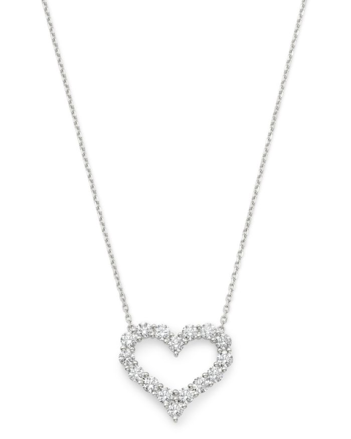 Bloomingdale's Diamond Heart Pendant Necklace in 14K White Gold, 1.5 ct. t.w. - 100% Exclusive  | Bloomingdale's