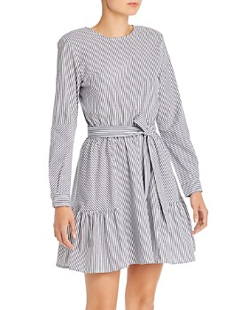 AQUA - Striped Poplin Fit-and-Flare Dress - 100% Exclusive