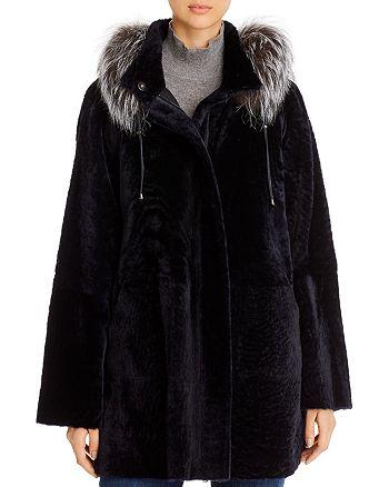Maximilian Furs - Fox Fur-Trim Shearling Coat - 100% Exclusive