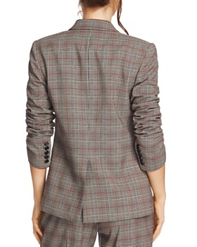 1.STATE - Ruched-Sleeve Plaid Blazer