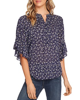 VINCE CAMUTO - Pintucked Flutter-Sleeve Printed Blouse