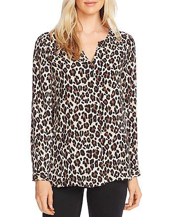 VINCE CAMUTO - Elegant Leopard Long-Sleeve Top