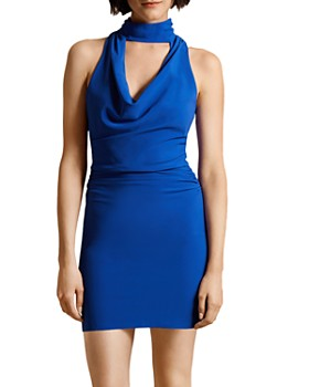 HALSTON - Draped Crepe Mini Dress