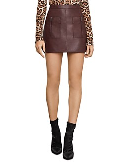 BCBGMAXAZRIA - Patch Pocket Faux Leather Skirt