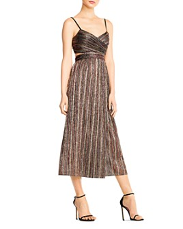 Aidan by Aidan Mattox - Striped Lurex Midi Dress