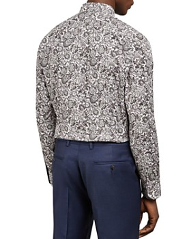 Ted Baker - Rigato Floral Print Slim Fit Shirt