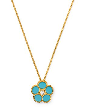 "Roberto Coin - 18K Yellow Gold Daisy Diamond & Turquoise Pendant Necklace, 16"" - 100% Exclusive"