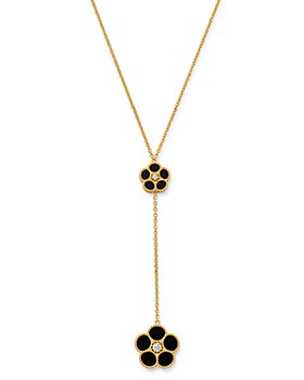 "Roberto Coin - 18K Yellow Gold Daisy Diamond & Black Onyx Y Necklace, 17.5"" - 100% Exclusive"