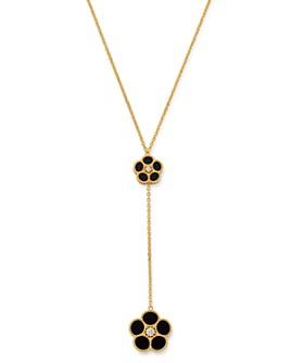 "Roberto Coin - 18K Yellow Gold Daisy Diamond & Black Onyx Y Necklace, 17.5"" - 100% Exclusive"