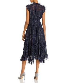 Rebecca Taylor - Ruffled Metallic Accent Midi Dress